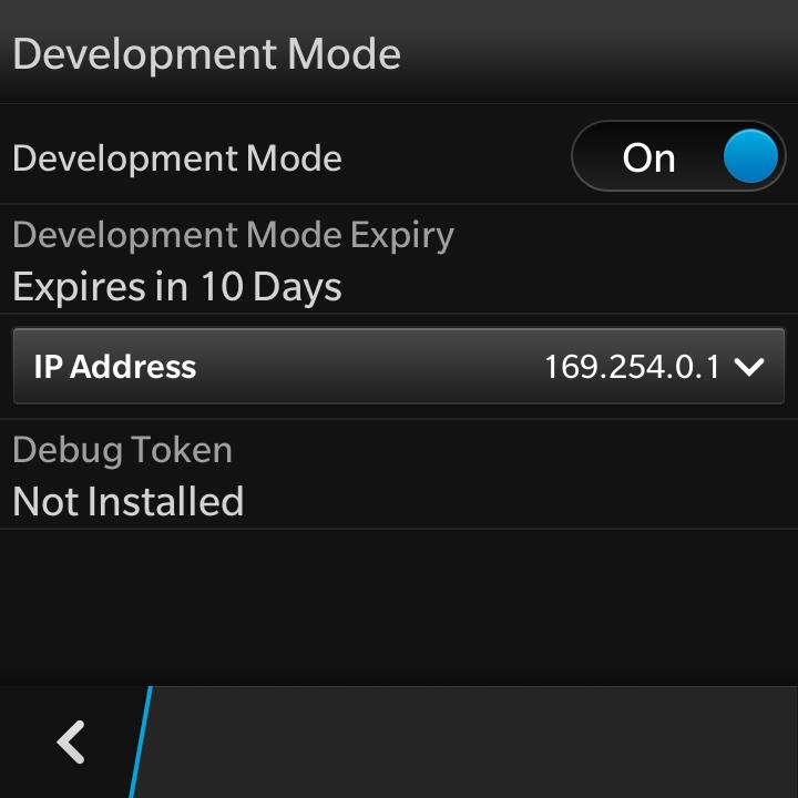 Development Mode上のIP設定の画面。どうやら10日たったらこのMode自動で解除されるみたいね。