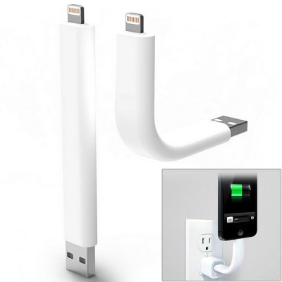 Trunk 9cm Cool Bendable Stand Design Lightning 8 Pin USB Data Sync / Charging Cable for iPhone 5 / iPad Mini ( White )