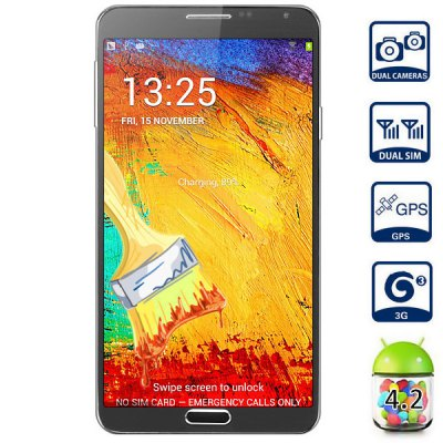 5.7 inch SM-N9002 Android 4.2 3G Phablet MTK6582 Quad Core 1.3GHz 1GB 8GB HD Screen GPS OTG Dual Cameras