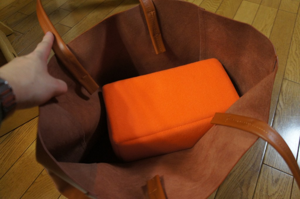 ちなみに以前レビューした、カメラケースを入れるとこんな感じ。この組み合わせは最強の育児バッグか!!