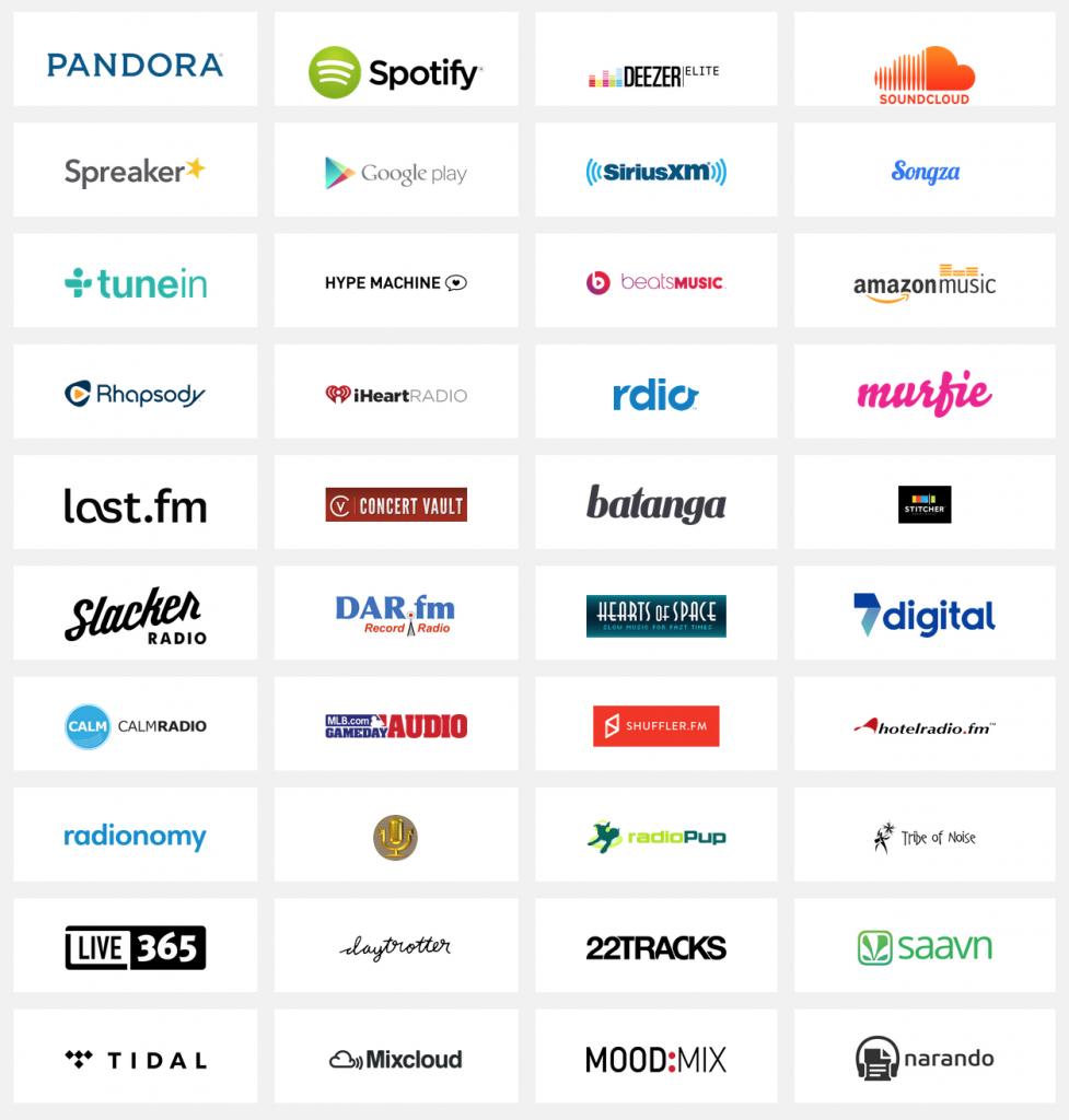 SONOSで再生できるクラウド系サービスの一覧。詳しくはhttp://www.sonos.com/streaming-music