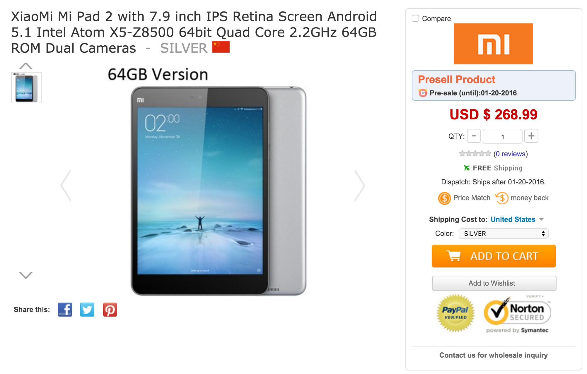 XiaoMi Mi Pad 2 with 7.9 inch IPS Retina Screen Android 5.1 Intel Atom X5-Z8500 64bit Quad Core 2.2GHz 64GB ROM Dual Cameras