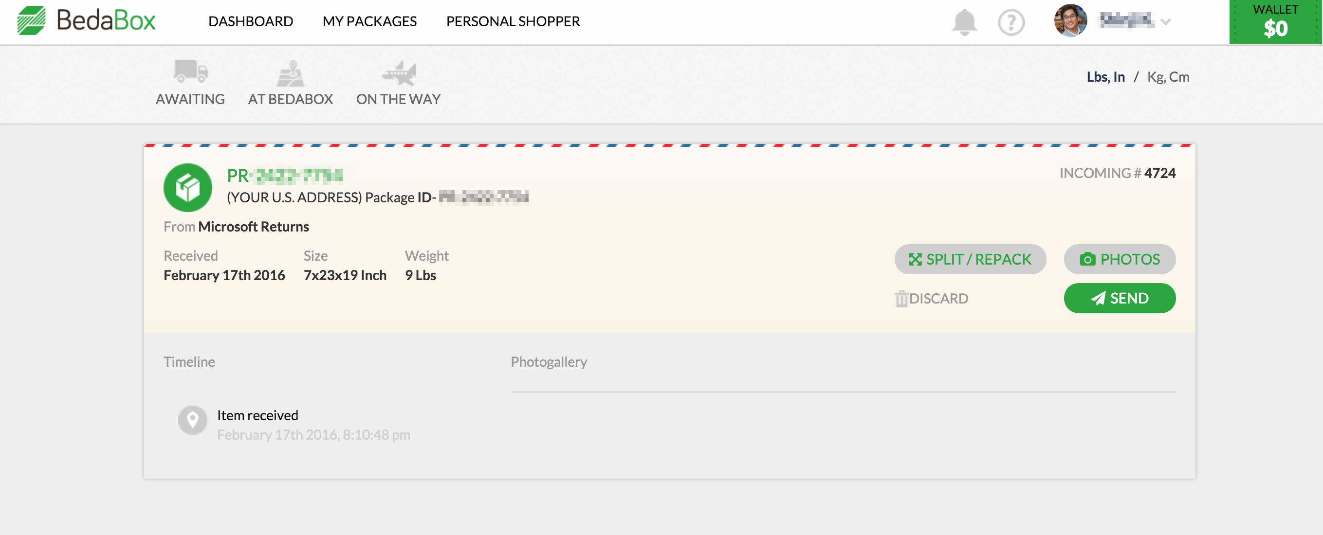 詳細を見ると、Microsoftから届いたものがついに確認! なお、この画面で開封での中身確認や写真撮影などが別料金で依頼できる。