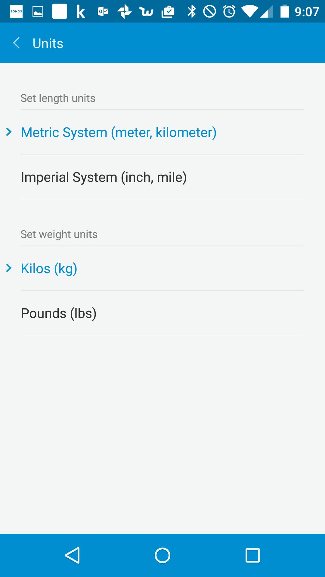 ちなみに長さや重さの単位の種類を選べます。日本人なら迷わずメトリックでしょ!
