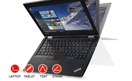 Thinkpad Yoga 260。 Spectre X360と同じ構造をした4つのモードで使えるノートPC。
